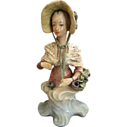 Romantic 1940s Cybis Cordey Ribbon and Flower Bonnet Lady Bust Rococco Figurine