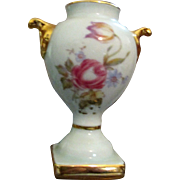 Vintage Limoges France Miniature Vase for French Fashion Doll * Fragonard Couple and Flowers