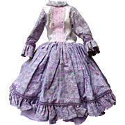 Vintage Doll Dress with Underskirt  Well Suited for Thin Bodied China Head or Other Doll - Lilac Print