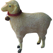 Large Sweet Antique Sheep : Hide and Fur Covered Wood and Papier Mache for your Antique Doll