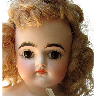 Beautiful Antique Kestner Closed Mouth Turned Head Bisque Shoulderhead Doll