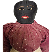 Antique Black Cloth Doll  Folk Art Americana Hand Embroidered Face