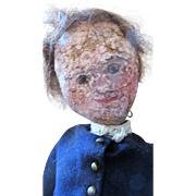 Antique Folk Art Americana Leather Face Cloth Boy Doll - So Quaint and Charming in Original Clothing