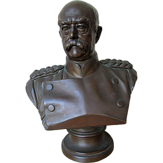 Fabulous Antique Large Bronze Bust of Prince Otto von Bismarck, The Iron Chancellor