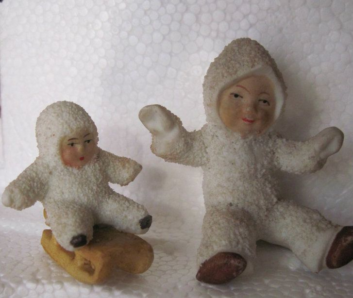 1920s German Hertwig Snow Baby Doll Pair, One on Sled