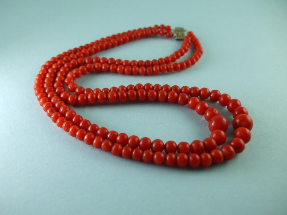 Ox Blood Coral Necklace 14k gold clasp