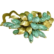 Retro 14k Jade Brooch Floral Design