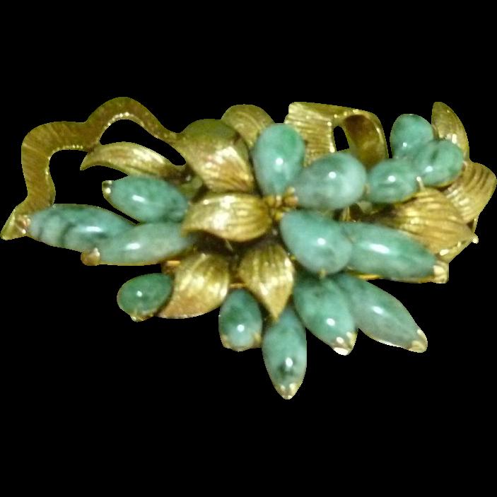 Retro 14k Jade Brooch Floral Design