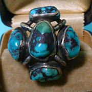 Modern Master H Fred Skaggs Bisbee Turquoise and Sterling Ring