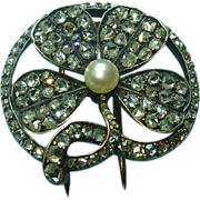 18k Diamond Shamrock Clip Brooch French Clover