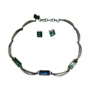 Givenchy Necklace Set with Earrings Blue Glass Silver Plated