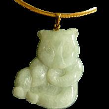 14k Carved Jade Panda Pendant