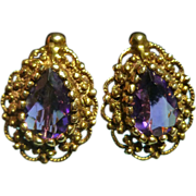 14k and Amethyst Earrings 1.7 ct