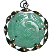 Vintage Green and White Jade Pendant Old Jade 14k Mounting Crane Figure