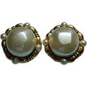 Vintage Chanel Depose Faux Pearl Earrings