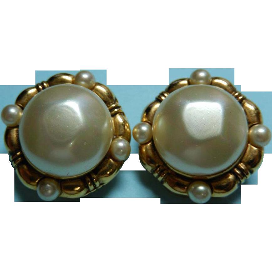 vintage chanel depose faux pearl earrings from