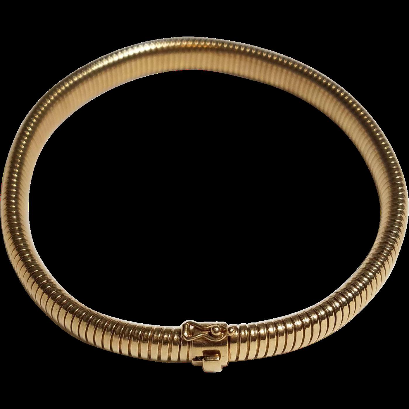 14k Gold Choker Necklace Tubogas Collier De Chien Or Dog