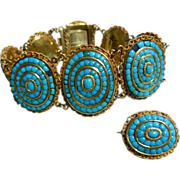 18k Turquoise Bracelet French Victorian Bracelet with Brooch