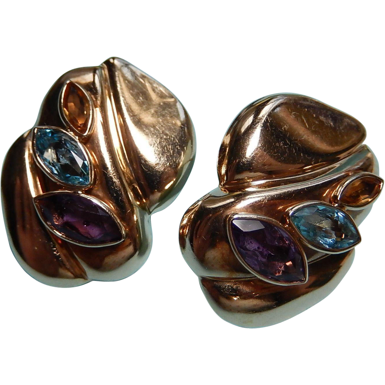 Large hollow 14k multi gemstone earrings puffed earrings for Best place to sell gold jewelry in chicago