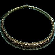 Hattie Carnegie Necklace Choker Gold Nugget or Crocodile Alligator Texture Collar