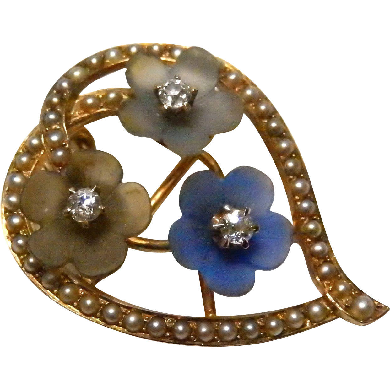 14k gold and diamond art nouveau brooch pendant flowers for Best place to sell gold jewelry in chicago