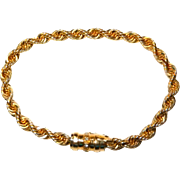 14k Rope Bracelet with Diamond Clasp