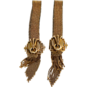 14k Victorian Mesh Bracelets Wedding Bracelets Black Enamel Chased Designs Gold