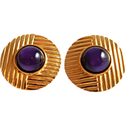 YSL Earrings Yves Saint Laurent Gold and Purple Earrings