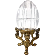 "Large 11"" Crystal Egg Box with Figural Ladies Head Pairpoint Stand 1430"
