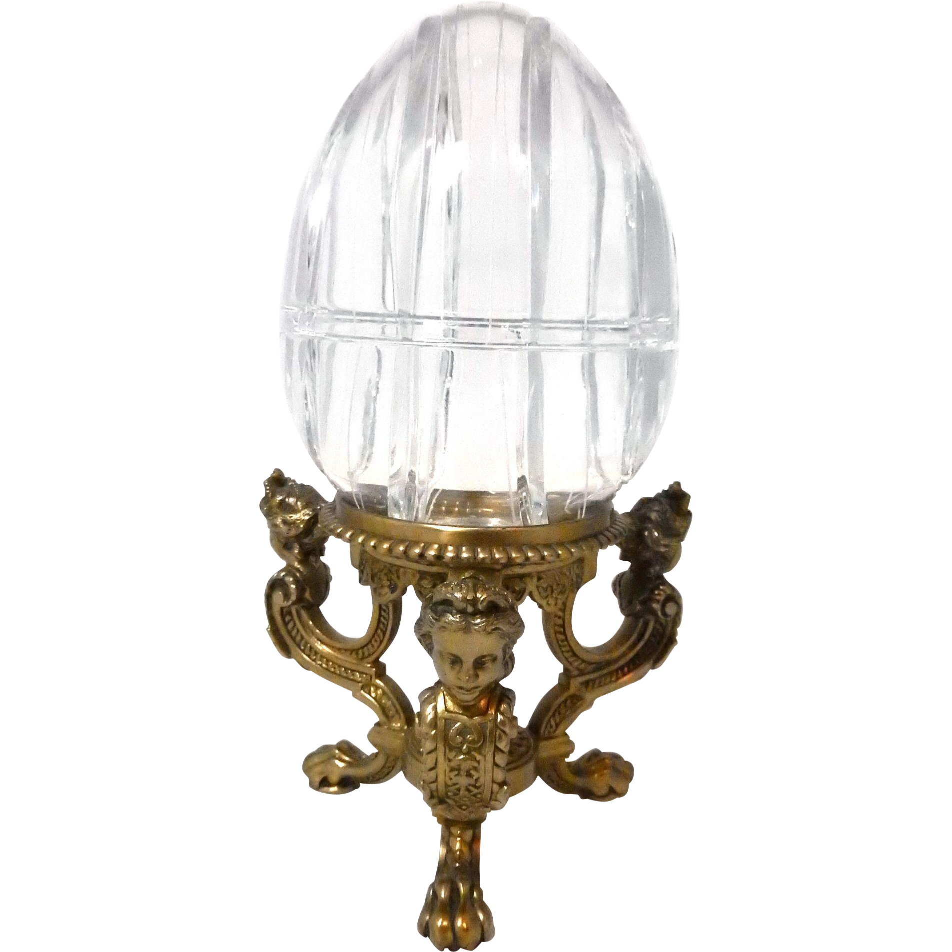 "Light Stand For Egg: Large 11"" Crystal Egg Box With Figural Ladies Head"
