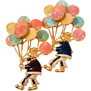 Enameled Clown Pin Clown Holding Balloons Pair of Clowns