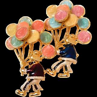 Enameled Clown Pin Clown Holding Balloons Pair of Clowns