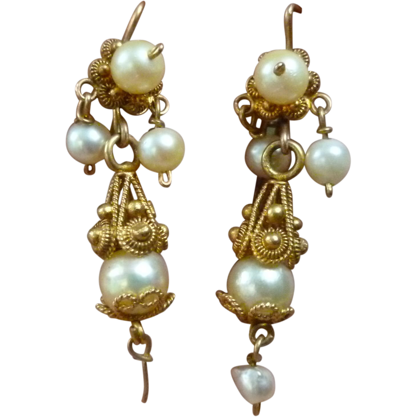 Antique Pearl and 12k Pendeloque Earrings Cannetille from ...
