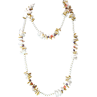 "Miriam Haskell White Faux Shell Necklace with Gilt Coral and Glass Beads 60"" 70s 80s"