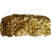 Gilt Victorian Art Nouveau Bangle Heavily Repousse Sea Creature Sea Monster Sea Snake Jewelry