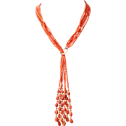 14k Oxblood Red Coral Necklace with Fringe Detail 26""