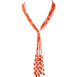 """14k Oxblood Red Coral Necklace with Fringe Detail 26"""""""