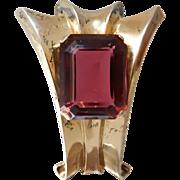 Trifari Dress Clip Faux Ruby Glass Sterling Silver 925 1940s