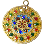 18k French Plique A Jour Stained Glass Window Charm Rose Window