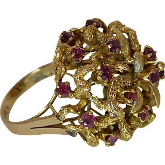 14k Gold and Ruby Ring Glamourous Cocktail Ring