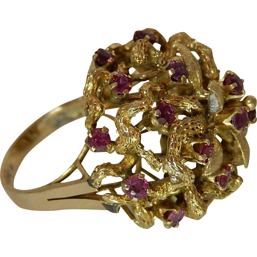 14k gold and ruby ring glamourous cocktail ring from for Best place to sell gold jewelry in chicago