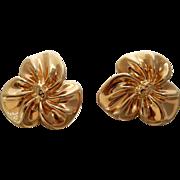 14k Flower Earrings Puffed Gold Earrings 7.4 grams