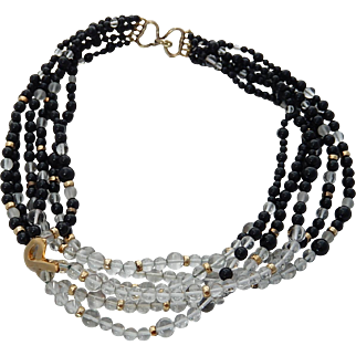 Kai Yin Lo Necklace Onyx Crystal Sterling KYLO Torsade Necklace