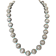Mexican Sterling Silver and Turquoise Blue Beaded Necklace Large Beads 5.5oz