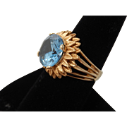 14k Large Blue Stone Cocktail Ring sz 8