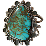 Native American Turquoise Cuff Bracelet Sterling