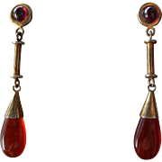 Vermeil Carnelian Drop Earrings Chinese Export Sterling