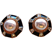 St John Gold Plated Faux Mabe Pearl and Enamel Earrings Rhinestones