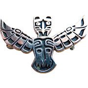 Totem Pole Eagle Brooch CA Sterling