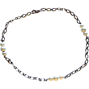 Sterling Silver Necklace with Faux Pearls 15""